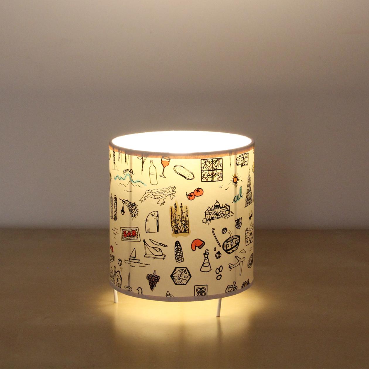 Lámpara de Mesa Cilíndrica Baja Barcelona Print